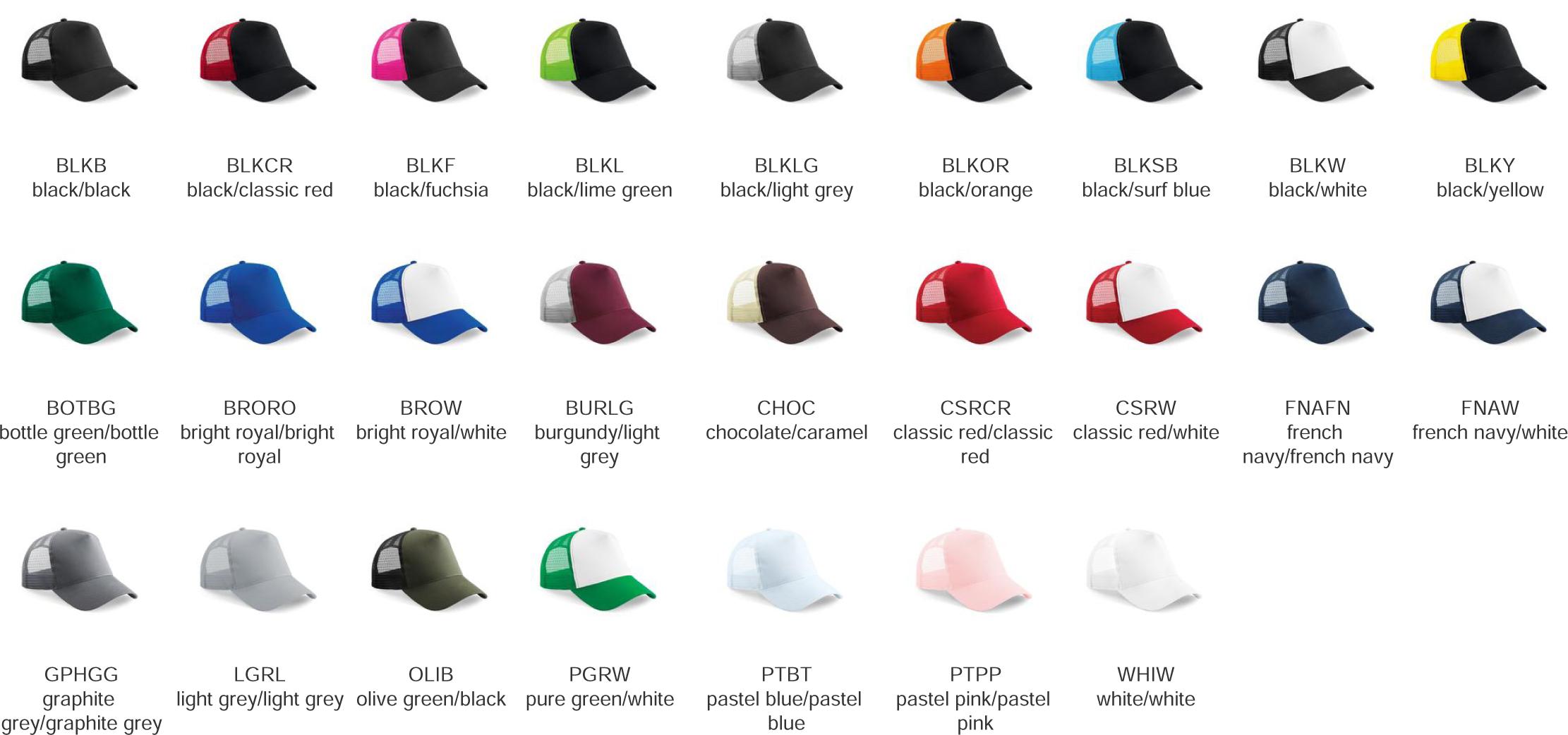 cappellino base rete colori