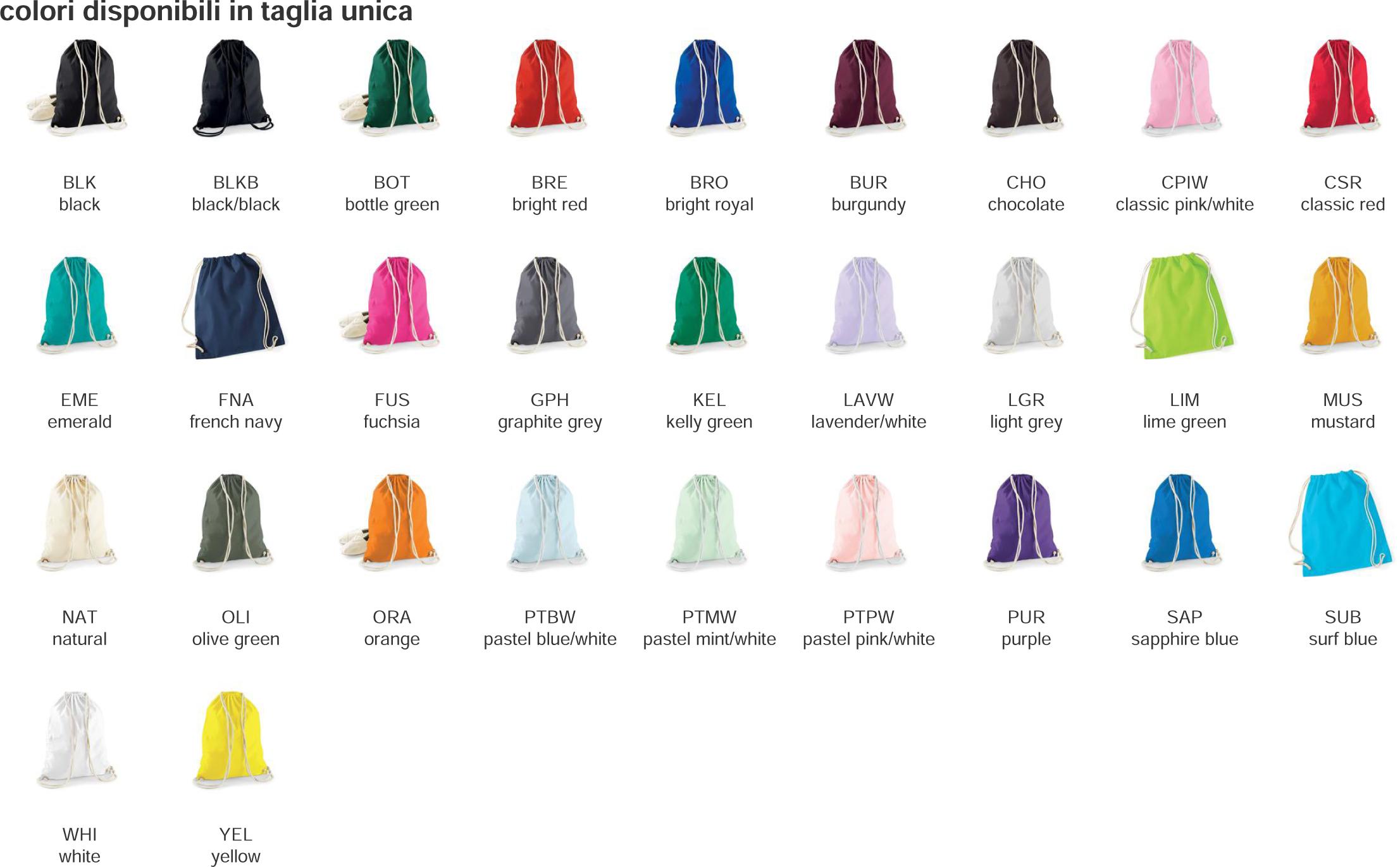 sacca zaino colori