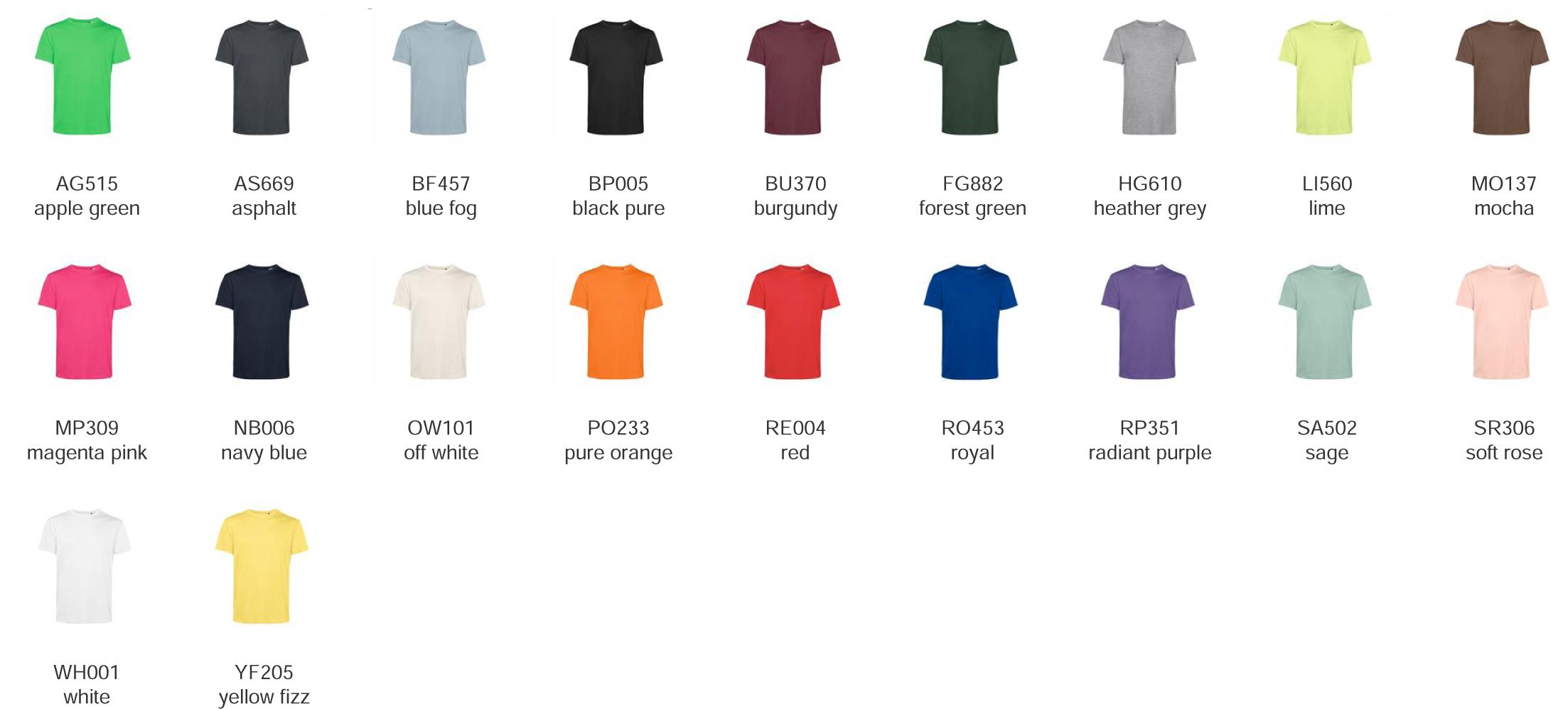 t-shirt cotone organico uomo donna colori