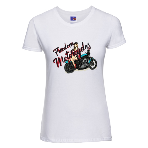 t-shirt personalizzata freedom motorcycles pinup